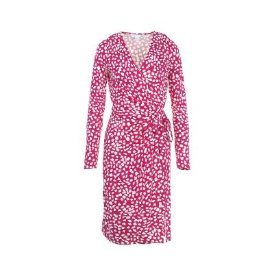 color patterned wrap dress pink